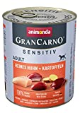 animonda GranCarno Hundefutter Adult Sensitiv, Nassfutter für ausgewachsene Hunde, Reines Huhn + Kartoffeln, 6 x 800 g